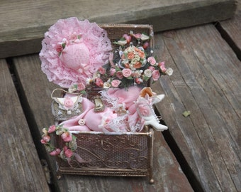 dollhouse country treasures, gold chest filled with brides wedding day items dollhouse miniature 1/12 scale