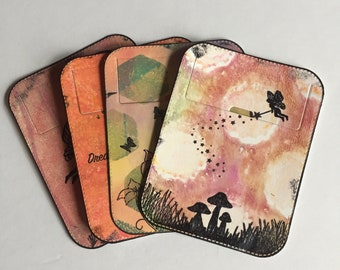Small tuck-it pocket - fairy theme set of 4 - for art journal, travel journal, junk journal, smash journal, planner, mixed media, collage