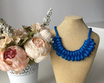 Blue rope necklace- OOAK necklace- Knot Necklace- Bib necklace- Chrochet necklace- Nautical necklace- Necklace for her-  Christmas gift