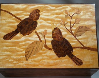 Marquetry Birds and Flowers Jewelry Box OOAK