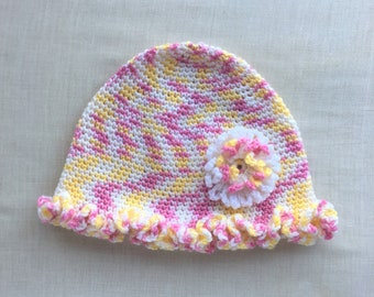 Yellow and Pink Ruffled Cap