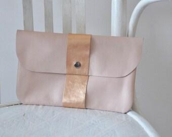 Leather Clutch, Evening Clutch, Pink Handbag, Clutch Bag, Bridesmaid clutch