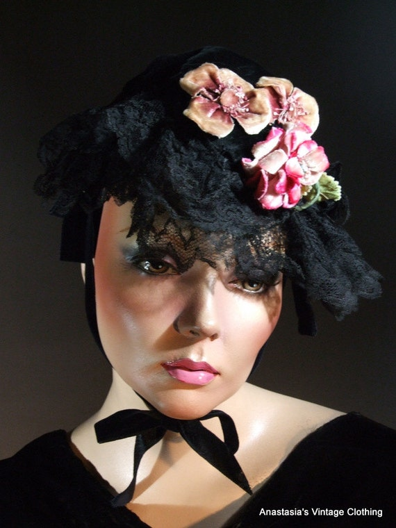 Vintage Victorian Black Velvet Mourning Cap Hat with Flowers in Excellent Condition