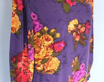 FREE SHIPPING 1990s Liz Claiborne Purple Floral Dress   Size 14