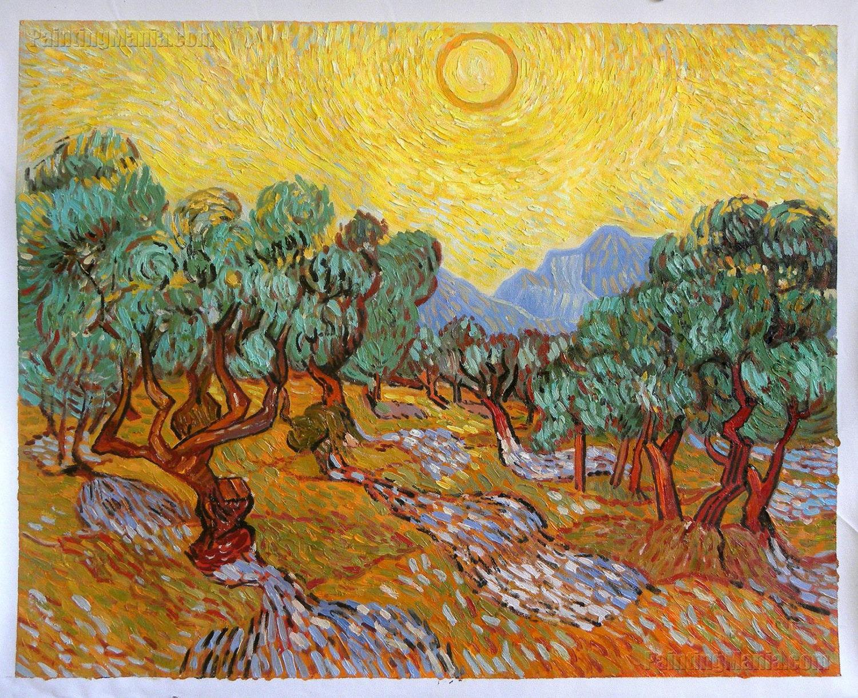 Olivos Con Cielo Amarillo Y Sol Vincent Van Gogh Leo Pintado # Vang Gogh Muebles