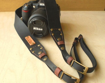 Leather Camera strap Personalized Leather Camera straps Monogram Camera strap DSLR camera strap Black Dark Brown Leather Camera strap