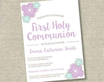 First communion invitation, communion invitation, 1st communion invitation, girl communion invitation, flower communion invitation
