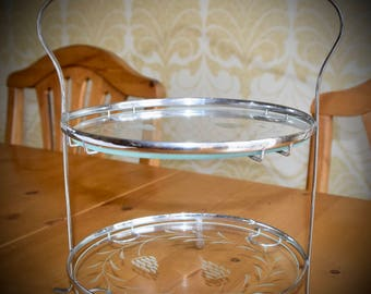 Chrome and Glass 1940s Cake Stand Perfect for Afternoon Tea, Elegant and Sophisticated