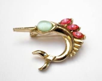 Coro Sword Fish  Brooch - Gold - Pink light Blue  Rhinestone -  Signed figurine fish pin