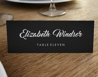Printable Place Cards - Place Card Template - Instant Download - Black and White Place Card - Place Card PDF - Chalkboard - Escort Card PDF