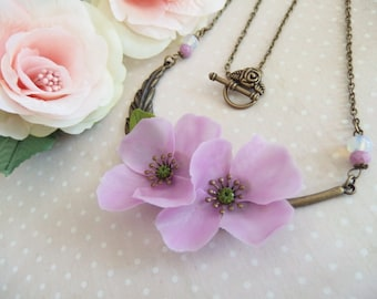 Connector feather necklace with large flowers purple poppies / Poppy flower necklace / poppies / Cold porcelain