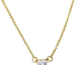0.50 Carat Trillion Cut Diamond Pendant Necklace - Minimalist 14K Rose, White or Yellow Gold