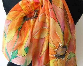 Sunny yellow, orange and pink silk scarf. Hand painted scarf. Floral painted silk scarf. Art silk scarf. Christmas gift