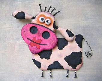 Deja Moo, MADE to ORDER, Original Wood Wall Sculpture, Wood Carving, Found Object Art, Cow Wall Art, Animal Sculpture, by Fig Jam Studio