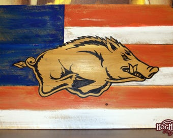 "Official Arkansas Razorback painting ""American Hog"" on hand-made wooden canvas"