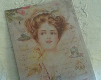 Map postcard shabby chic and romantic for scrapbooking / retro / embellishment