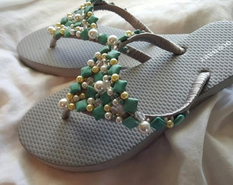 Hand beaded flipflops with Genuine turquoise beads.