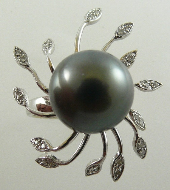 Tahitian Black Pearl 13.3mm Ring, 18k White Gold & Diamonds 0.22ct