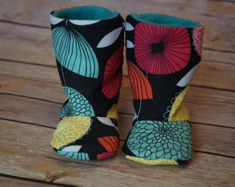 Floral zip-up baby boots 3-6 months