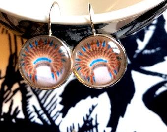 Tribal Head dress cabochon earrings- 16mm