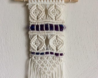 Small Macrame Wall Hanging // Tapestry with Purple Details
