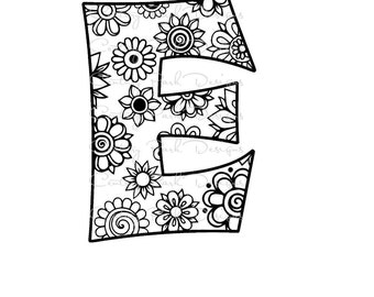 Letter E Alphabet Flowers SVG JPEG PNG Pdf Use With Silhouette Studio And Cricut Design Space