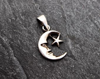 Moon and Star Pendant, Sterling Silver, Man in the Moon, Celestial Pendant, Moon Charm, Moon Pendant, Moon and Stars, Small Moon, Petite,925