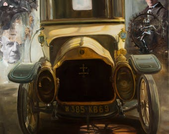 Loraine-Dietrich. Wheel of History. Original Mixed Media and Oil Painting. Mixed Media Art. Oldtimer car. Handmade