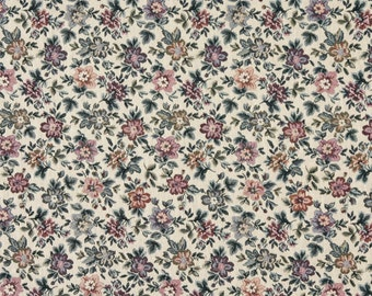 Beige Burgundy And Green Floral Flowers Tapestry Upholstery Fabric By The Yard | Pattern # F663