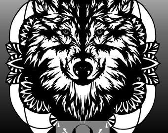 Maverick Wolf Head Paper Cutting Template, Personal Use, Vinyl Template, SVG, JPEG, Wildchild Designs, Wolf Template, Direwolf Template