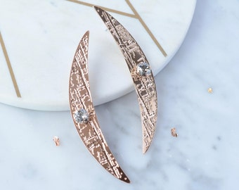 Rose gold crescent earrings - celestial crystal earrings - half moon statement earrings - Swarovski jewellery - christmas  gift for her