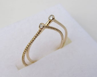 SALE ~ Thin Gold and Diamond Ring Set, 2 Stone Mother's Rings, Unique Gold Ring Set - Size 6.5 ~ Free Domestic Shipping