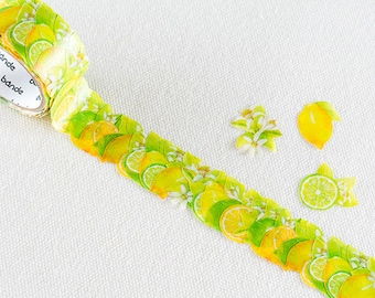 Bande Lemon and Lime Washi Roll Sticker  | Bande Garden Series, Lemon and Lime Masking Tape, Lemon and Lime Stickers (BDA235)