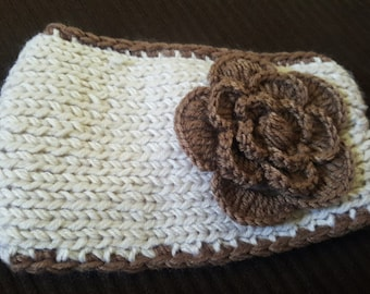 Crocheted Warm Ear Warmer Headband with flower