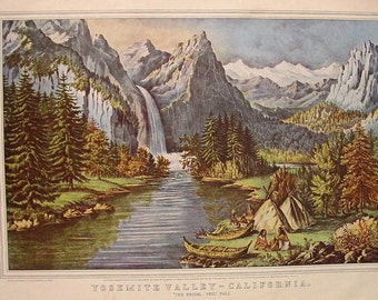 CURRIER & IVES Vintage Art Yosemite Valley California Bridal Veil Fall and Native Americans 1866 Painting Merced