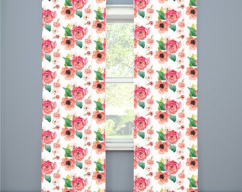Girl Nursery Curtains Floral Curtains Coral Floral Dreams Curtains CUSTOM Spoonflower Cotton Twill Curtain Panel Set Girl Curtain Set of 2