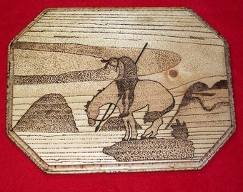 Native American Wooden Burned Wall Hanging ( End Of The Trail )
