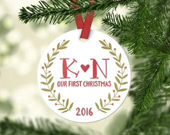 Christmas Gifts for Girlfriend First Christmas Married Ornament Personalized Christmas Gift Wedding Ornament Wedding Gift for Couple Initial