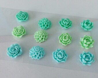 12 resin flowers cabochons 4 different flowers and 3 colors in shades of green 20mm