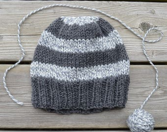 Women's Hand Knit Striped Hat in Grey & White