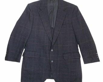 "Adams Row by Richman Blazer 40"" Pure Wool Jacket Blue Black Check USA Made"