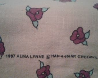 Vintage Hankerchief, made in 1997, yellow with red roses and green leaves, grandmother, standard sized, women, girls, old fashioned