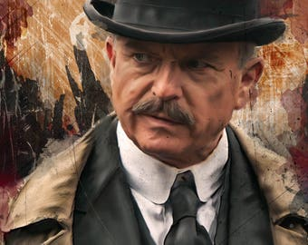Graphic illustration of Peaky Blinders character Chester Campbell, as played by Sam Neill