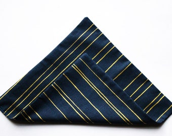 "The ""Raidat Kultaa"" Blue Gold Striped 100% cotton handmade handkerchief pocket square men man suit Spero accessories Stripes of gold Finnish"