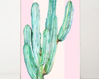 Cactus Print Botanical Print Watercolor Print Pink Cactus Wall Art Boho Wall Decor Cactus Decor Succulents Cactus Art Cactus Painting Green
