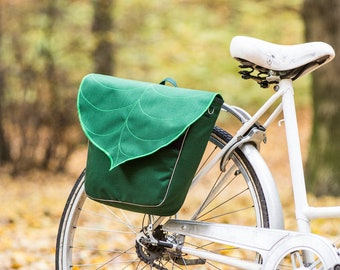 Personalized Pannier Bags for bicycles, Leaf Pannier Bag, Bicycle Accessories, Waterproof Bike Bag, Gift for cyclist, Woodland Saddle Bag