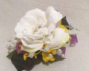White Bling Rose and Yellow Silk Flower Wristlet Corsage