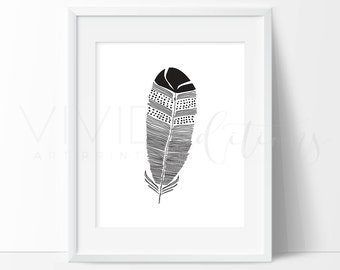 Feather Print, Boho Print, Boho Nursery Decor, Tribal Home Decor Gift Not Framed