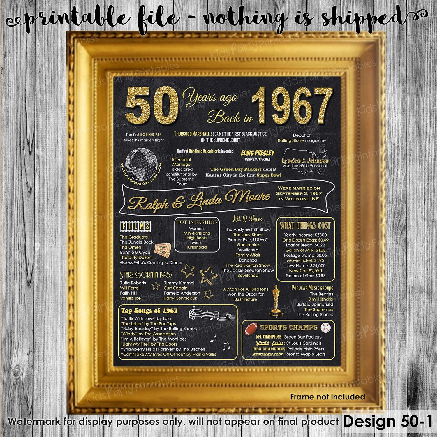 Gift Ideas For A 50th Wedding Anniversary: 50th Anniversary Decoration 50th Anniversary Gifts For