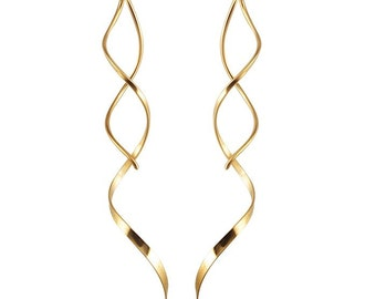 14k Gold Twist Earrings Spiral Earrings Gold Spiral Earrings Threader Earrings Gold Corkscrew Earrings 14k Gold Filled Earrings Buy3+1 Free
